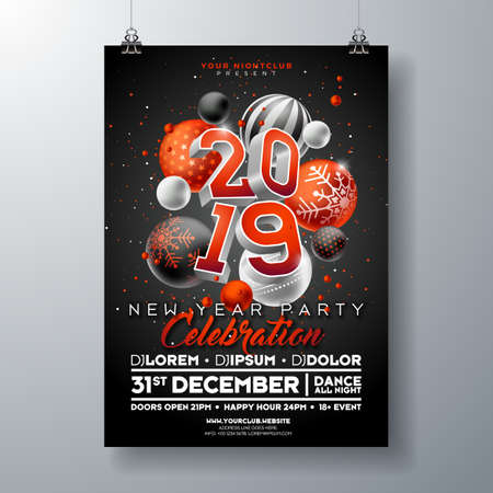 New Year Party Celebration Poster Template illustration with 3d 2019 Number and Christmas Ball on Black Background. Vector Holiday Premium Invitation Flyer or Promo Banner Ilustracja