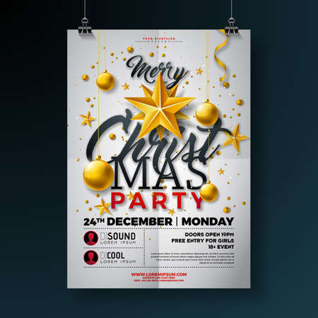 Christmas Party Flyer Illustration with Gold Star, Glass Ball and Typography Lettering on White Background. Vector Celebration Poster Design Template for Invitation or Banner Ilustração
