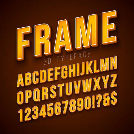 Vector 3d Alphabet Font with Frame and Shadow on Red Background. Modern Typeface Design Collection with ABC, Number and Special Characters for Banner, Poster or Invitation. Layered Separated Characters Ilustração