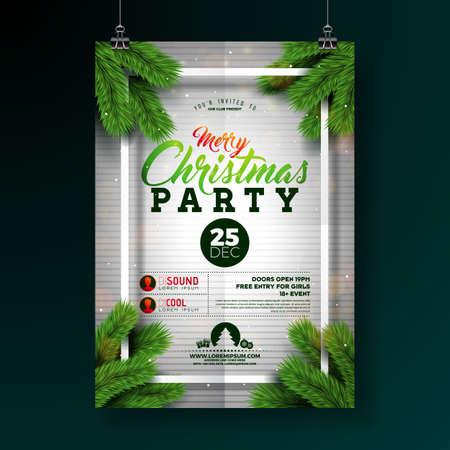 Christmas Party Flyer Illustration with Typography Lettering and Pine Branch on White Background. Vector Holiday Celebration Poster Design Template for Invitation or Banner