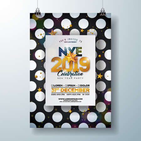 2019 New Year Party Celebration Poster Template Illustration with Shiny Gold Number on Abstract Black and White Background. Vector Holiday Premium Invitation Flyer or Promo Banner Ilustração