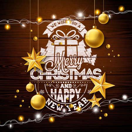 Merry Christmas Illustration with Gold Glass Ball, Lights Garland and Typography Elements on Vintage Wood Background. Vector Holiday Design for Greeting Card, Party Invitation or Promo Banner