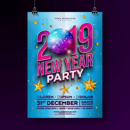New Year Party Celebration Poster Template Design with 3d 2019 Number and Disco Ball on Blue Background. Vector Holiday Premium Illustration for Invitation, Flyer or Promo Banner Ilustracja