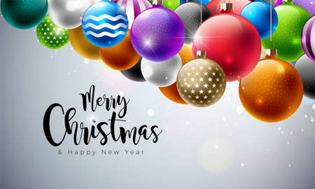 Merry Christmas Illustration with Multicolor Ornamental Balls on White Background. Vector Happy New Year Design for Greeting Card, Poster or Banner