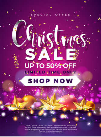 Christmas Sale Design with Ornamental Ball and Lights Garland on Violet Background. Holiday Vector Illustration with Special Offer Typography Elements for Coupon, Voucher, Banner, Flyer, Promotional Poster or Greeting Card