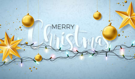Christmas Illustration with Glowing Colorful Lights Garland Gold Glass Ball for Xmas Holiday and Happy New Year. Greeting Cards Design on Shiny Blue Background