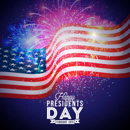 Happy Presidents Day of the USA Vector Illustration. Celebration Design with Flag and Typography Letter on Fireworks Background for Banner, Greeting Card, Invitation or Holiday Poster