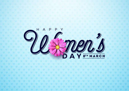 Happy Womens Day Floral Greeting card. International Holiday Illustration with Flower and Typography Design on Blue Background. Vector Spring 8 March Celebration Template