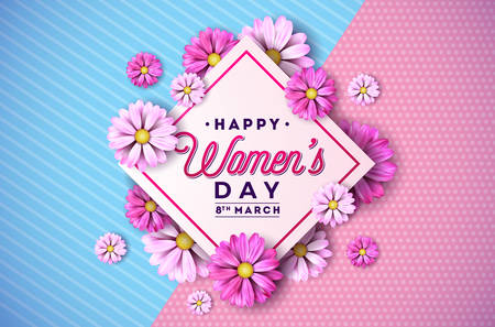 8 March. Happy Womens Day Floral Greeting card. International Holiday Illustration with Flower Design on Pink Background. Vector Spring Celebration Template