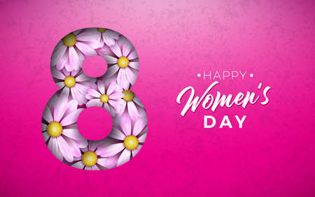 8 March. Happy Womens Day Floral Greeting card. International Holiday Illustration with Flower Design on Pink Background. Vector Spring Template