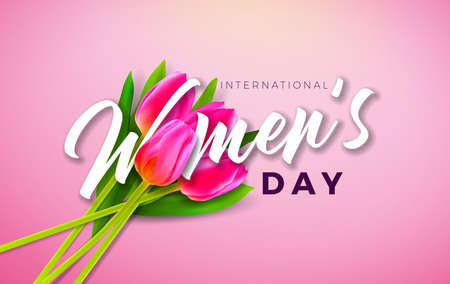 Happy Womens Day Illustration with Tulip Flower and 8 March Typography Letter on Pink Background. Vector Spring Celebration Design Template for Greeting Card Ilustracja