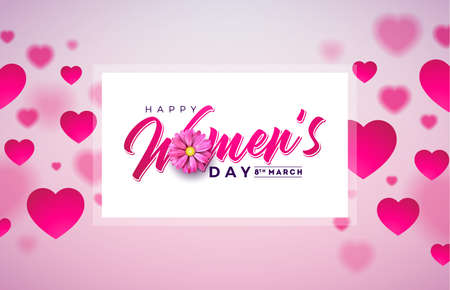 8 March. Happy Womens Day Floral Greeting card. International Holiday Illustration with Flower and Heart Design on Pink Background. Vector Spring Celebration Template