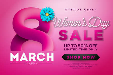 Womens Day Sale design with Beautiful Colorful Flower on Pink Background. Vector Floral Illustration Template for Coupon, Banner, Voucher or Promotional Poster Ilustracja
