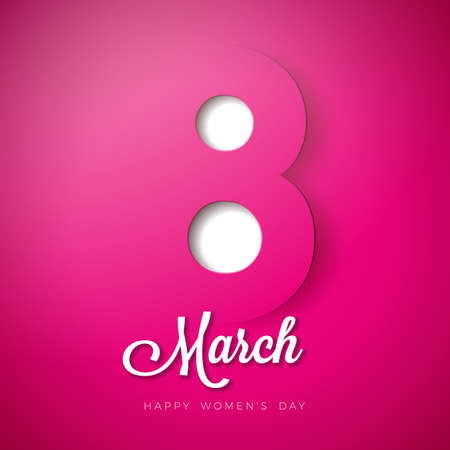 8 March. Happy Womens Day Design. International Holiday Illustration with Paper Cutting Eight on Pink Background. Vector Spring Celebration Template Ilustracja