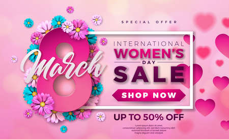 Womens Day Sale Design with Beautiful Colorful Flower on Pink Background. Vector Floral Illustration Template for Coupon, Banner, Voucher or Promotional Poster