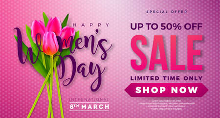 Womens Day Sale Design with Tulip Flower on Pink Background. Vector Floral Illustration Template for Coupon, Banner, Voucher or Promotional Poster