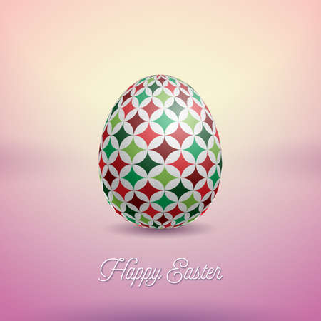 Vector Illustration of Happy Easter Holiday with Painted Egg and Flower on Clean Background. International Celebration Design with Typography for Greeting Card, Party Invitation or Promo Banner. Çizim