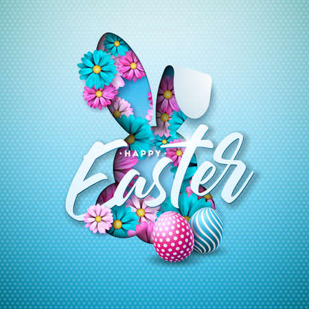 Happy Easter Holiday Design with Painted Egg, Spring Flower in Nice Rabbit Face Silhouette on Light Blue Background. Vector Illustration of International Celebration Design with Typography Letter for Greeting Card, Party Invitation or Promo Banner