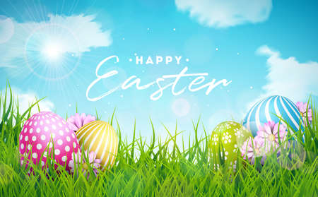 Happy Easter Holiday Illustration with Painted Egg and Flower on Nature Grass Background. Vector International Celebration Design with Typography for Greeting Card, Party Invitation or Promo Banner. Çizim