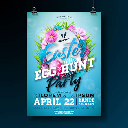 Vector Easter Party Flyer Illustration with painted eggs, flower and rabbit ears on nature blue background. Spring holiday celebration poster design template