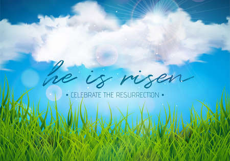 Easter Holiday illustration with cloud and green grass on blue sky background. He is risen. Vector Christian religious design for resurrection celebrate theme.