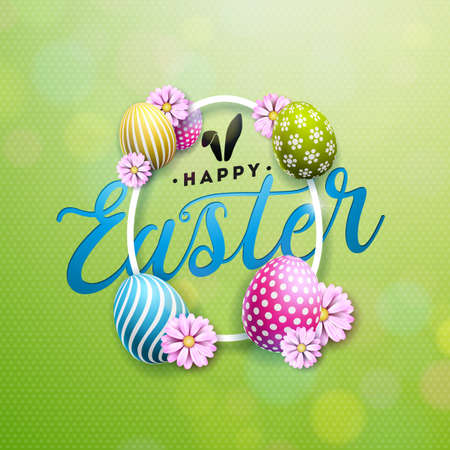 Happy Easter Illustration with Colorful Flower and Painted Egg on Shiny Green Background. Vector International Holiday Celebration Design with Typography for Greeting Card, Party Invitation or Promo Banner.