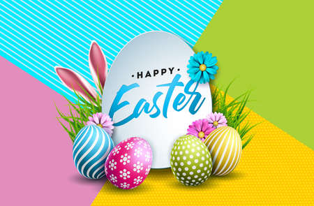 Vector Illustration of Happy Easter Holiday with Painted Egg, Rabbit Ears and Spring Flower on Colorful Background. International Celebration Design with Typography for Greeting Card, Party Invitation or Promo Banner.