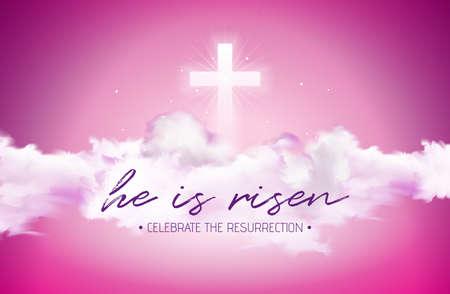 Ostern-Feiertagsillustration mit Wolke auf bewölktem Himmelhintergrund. Er ist auferstanden. Vektorchristliches religiöses Design für die Auferstehung feiern Thema.