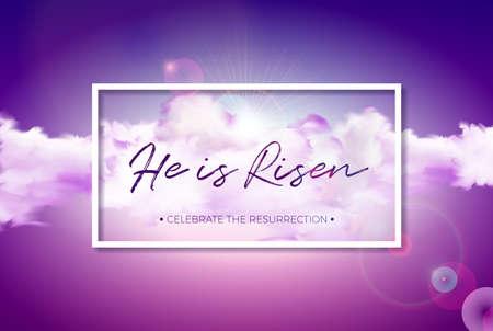 Paasvakantie illustratie met cloud op bewolkte hemelachtergrond. Hij is gerezen. Vector christelijk religieus ontwerp voor opstanding vieren thema.