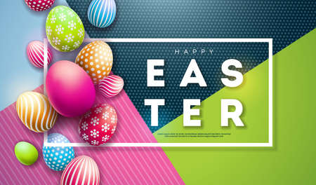 Vector Illustration of Happy Easter Holiday with Painted Egg on Colorful Background. International Celebration Design with Typography for Greeting Card, Party Invitation or Promo Banner Illustration