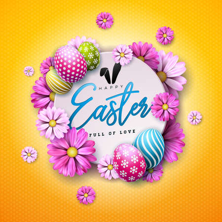 Happy Easter Holiday Design with Painted Egg and Spring Flower on Yellow Background. International Vector Celebration Illustration with Typography for Greeting Card, Party Invitation or Promo Banner. Ilustração