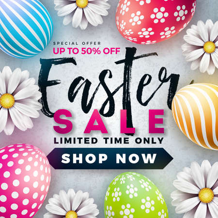 Easter Sale Illustration with Color Painted Egg and Spring Flower on White Background. Vector Holiday Design Template for Coupon, Banner, Voucher or Promotional Poster