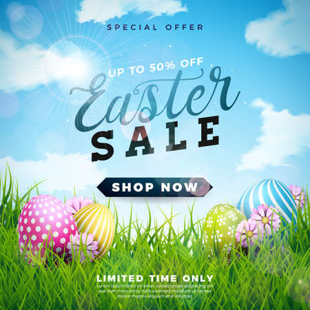 Easter Sale Illustration with Color Painted Egg and Spring Flower on Cloudy Sky Background. Vector Holiday Design Template for Coupon, Banner, Voucher or Promotional Poster