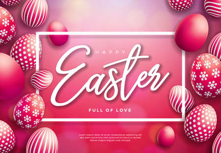 Vector Illustration of Happy Easter Holiday with Painted Egg on Shiny Red Background. International Celebration Design with Typography for Greeting Card, Party Invitation or Promo Banner. Ilustração