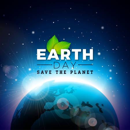 Earth Day illustration with Planet and Green Leaf. World map background on april 22 environment concept. Vector design for banner, poster or greeting card. Ilustração