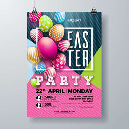 Vector Easter Party Flyer Illustration with painted eggs, spring flower and typography elements on nature blue background. Spring holiday celebration poster design template Archivio Fotografico - 123885107