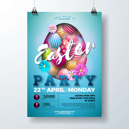 Vector Easter Party Flyer Illustration with painted eggs, spring flower and typography elements on light blue background. Spring holiday celebration poster design template