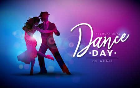 International Dance Day Vector Illustration mit Tango tanzenden Paaren auf lila Hintergrund. Designvorlage für Banner, Flyer, Einladung, Broschüre, Poster oder Grußkarte.