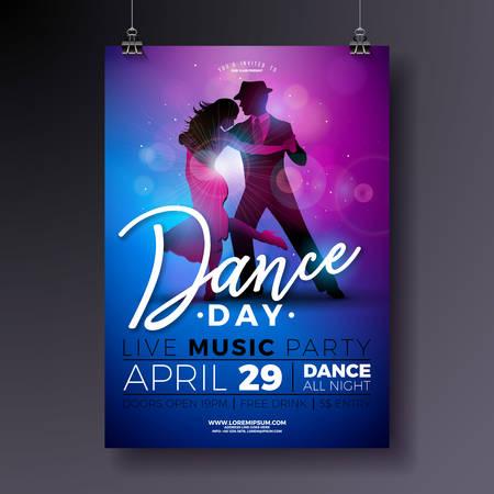 Dance Day Party Flyer Design mit Paar tanzen Tango auf glänzenden bunten Hintergrund. Vektorfeierplakatillustrationsschablone für Ballsaal-Nacht. Vektorgrafik