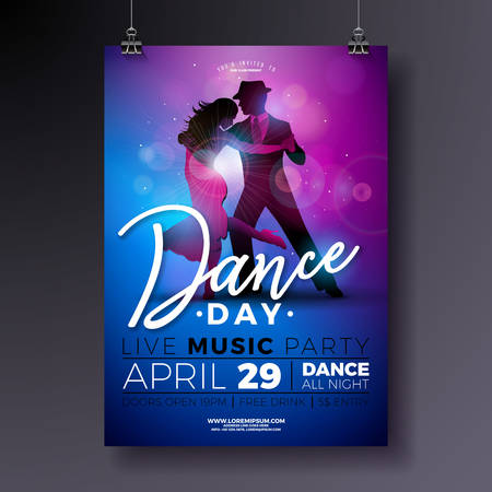 Dance Day Party Flyer design with couple dancing tango on shiny colorful background. Vector celebration poster illustration template for Ballroom Night. Иллюстрация