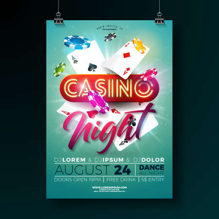 Vector Casino night flyer illustration with gambling design elements and shiny neon light lettering on green background. Luxury invitation poster template