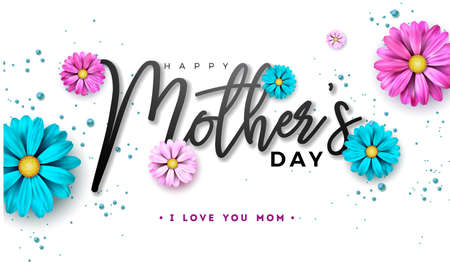 Happy Mothers Day Greeting card design with flower and typography letter on white Ilustração
