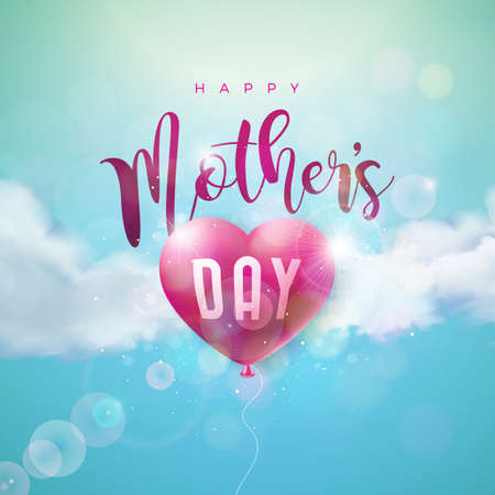 Happy Mothers Day Greeting card design with air balloon heart and typography letter on blue cloudy sky background. Vector Celebration Illustration template for banner, flyer, invitation, brochure, poster Stock Illustratie