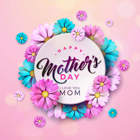 Happy Mothers Day Greeting card design with flower and typographic elements on pink background. Vector Celebration Illustration template for banner, flyer, invitation, brochure, poster Stockfoto - 123394869