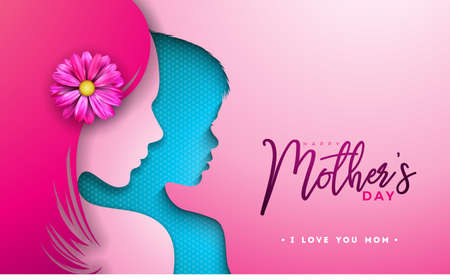 Happy Mothers Day Greeting card design with woman and child face silhouette on pink background. Vector Celebration Illustration template with typography letter for banner, flyer, invitation, brochure, poster Stock Illustratie
