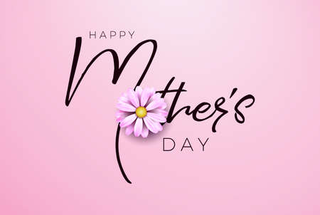 Happy Mothers Day Greeting card design with flower and typography letter on pink background. Vector Celebration Illustration template for banner, flyer, invitation, brochure, poster Stockfoto - 123394872