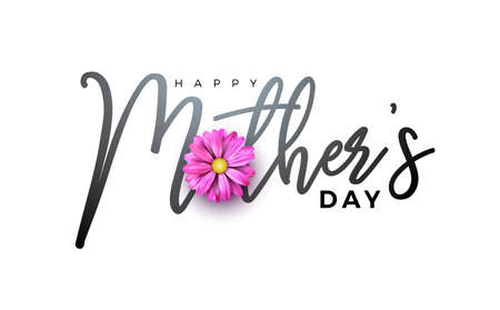 Happy Mothers Day Greeting card design with flower and typographiy letter on white background. Vector Celebration Illustration template for banner, flyer, invitation, brochure, poster