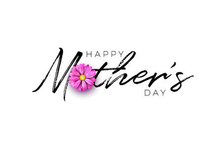 Happy Mothers Day Greeting card design with flower and typography letter on white background. Vector Celebration Illustration template for banner, flyer, invitation, brochure, poster Stock Illustratie