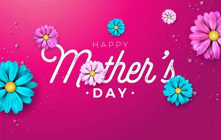 Happy Mothers Day Greeting card design with flower and typography letter