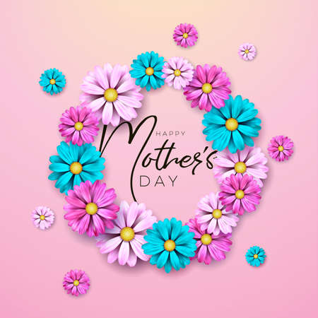 Happy Mothers Day Greeting card design with flower and typography letter on pink